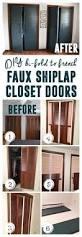 bi fold to faux shiplap french closet doors modern closet doors