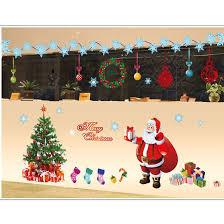 merry wall sticker diy santa claus tree decoration
