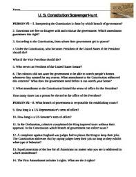 constitution scavenger hunt worksheet by amy miller tpt