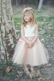 Flower Girls Dresses For Less - satin and tulle sleeveless two tone flower dress for less