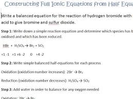redox constructing half equations and ionic equations by gerwynb