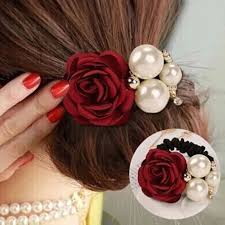 flower hair rings images Flower elastic hair rubber bands satin rose simulated pearls decor jpg