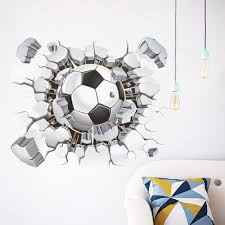 compare prices on football bedroom online shopping buy low price creative 3 d wall football broken wall wall stickers the sitting room adornment bedroom background football