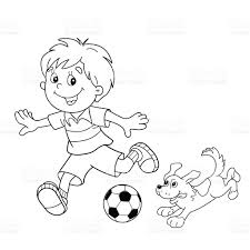 coloring page outline of boy with soccer ball with dog stock