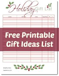 gift shopping list free printable gifts planner linky meet