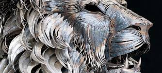 metal lion sculpture spine chilling lion sculpture made of 4 000 pieces of scrap metal