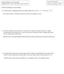 math plane using derivatives in economics
