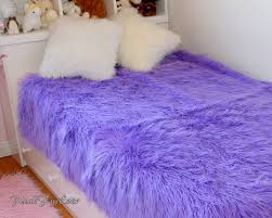 Furry Blanket Mongolian Faux Fur Bedding Lavender Purple Faux Fur Plush Soft