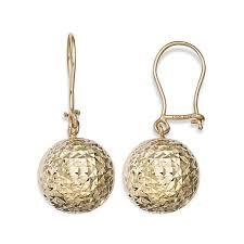drop earrings gold 14k yellow gold diamond cut drop earrings jcpenney