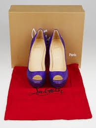 Christian Louboutin Purple Glitter Bambou 140 Peep Toe Pumps Size