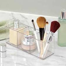 Makeup Vanity Tray Bathroom Organizer Clear Plastic 3 Compartment Vanity Tray Make Up