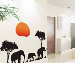 amazon com african elephants trees sunset removable vinyl wall amazon com african elephants trees sunset removable vinyl wall stickers mural home art decal kids room decor home kitchen