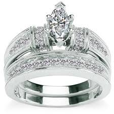 bridal sets for 5 8 carat diamond marquise cut 14kt white gold bridal set