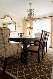 formal dining room with seville rug also geometric leather dining