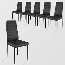 chaise pas cher lot de 6 chaises de salle à manger en acier revêtement simili noir