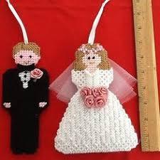 and groom ornaments handmade wedding plastic canvas
