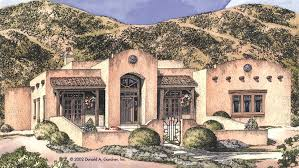 southwestern home plans arched loggia entryway hwbdo12510 adobe from builderhouseplans