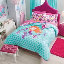 new girls teens pink aqua mermaid flowers comforter bedding set in