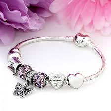 sterling silver love heart bracelet images Cheap pandora_272 newest pandora butterfly love heart friend pink jpg