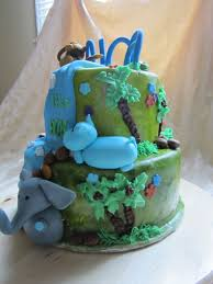 boy u0027s baby shower jungle cake cakecentral com
