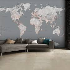 World Map Wallpaper Silver Grey World Map Feature Wall Wallpaper Mural 315cm X 232cm
