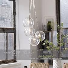 Glass Pendant Lighting American Cluster Glass Pendant Transparent Round Ball Glass