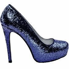 Wedding Shoes Heels Womens Sparkly Navy Blue Glitter Pumps High Heels Wedding Bride