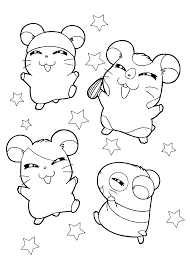 hamster hamtaro anime coloring pages for kids printable free