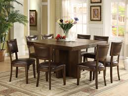 Dining Room  Square Wood Table With Motif Rug Also Leather Chair - Incredible dining table dimensions for 8 home