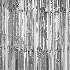 Silver Foil Curtains Sunbeauty Big 3ft X 8ft Fringe Foil Curtain Tinsel Backdrop