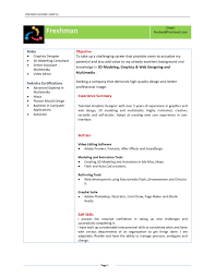 Example Of Resume Summary For Freshers Sample Resume For Fresher Graphic Designer Templates