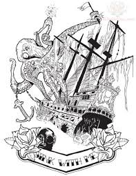 black ink pirate ship with octopus and banner tattoo design