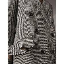 donegal herringbone wool tweed tailored coat in black women