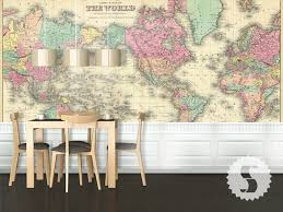 Vintage Map Wallpaper by Wall Mural Poster Old Vintage Antique Colorful World Map