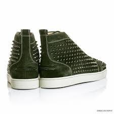 christian louboutin english green louis spikes flat sneakers