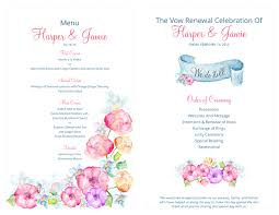 vow renewal ceremony program free vow renewal invitation suite watercolor flowers theme