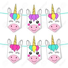 Pretty Bunting Flags Cute Childish Bunting Flags With Magic Rainbow Hair Unicorns