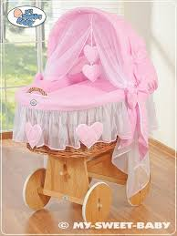 Wicker Crib Bedding Wicker Crib Vintage Moses Basket Bassinet Hearts With Canopy In