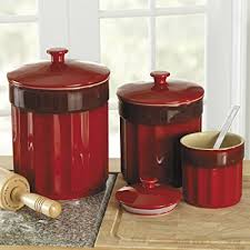 stoneware kitchen canisters amazon com chefs stoneware kitchen canister set 3 pieces
