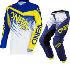 blue motocross gear oneal element 2018 racewear motocross jersey u0026 pants blue yellow