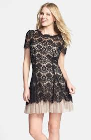 Black Cocktail Dresses Nordstrom Women U0027s Betsy U0026 Adam Short Sleeve Lace Fit U0026 Flare Dress Fit