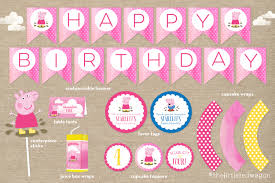 peppa pig birthday custom peppa pig birthday party printables banner cupcake