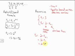 explicit and recursive geometric sequences youtube