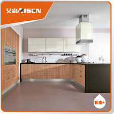 Low Price Kitchen Cabinets Long Lifetime Wooden Color Pvc Membrane Kitchen Cabinet Low Price
