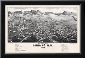 Map Of Santa Fe New Mexico by Santa Fe Nm 1882 Vintage City Maps Restored City Maps
