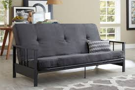 essential home watson black metal arm futon with 6