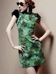 green cotton qipao cheongsam chinese dress