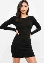 sleeved black dress black sleeved ribbed mini dress missguided