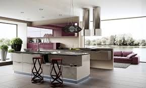 kitchen kitchen island with brown countertop also purple breakfast