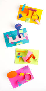 colored paper collage sculptures art for kids and robots